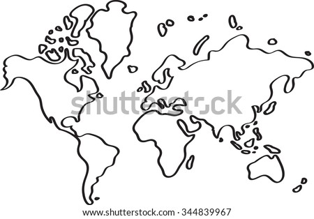 Freehand World Map Sketch On White Stock Vector (Royalty Free ...