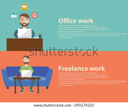 Freelance and Office work flat set with networking designer work web programming workplace isolated vector illustration - stock vector