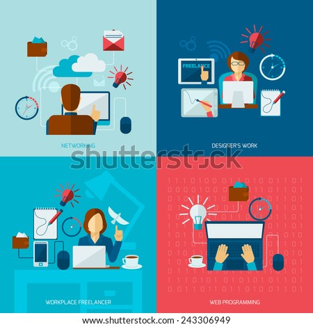 Freelance flat set with networking designer work web programming workplace isolated vector illustration - stock vector