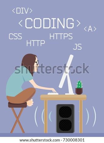 Freelance Programmer Coder Design Character Dude 730008301 Shutterstock