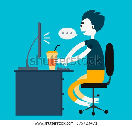 Freelance vector character chatting using a computer - stock vector