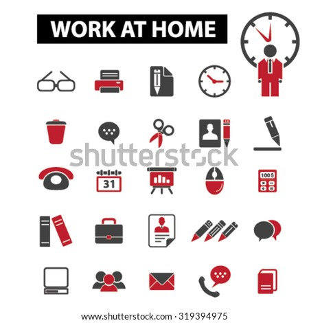 freelance, work at home icons - stock vector