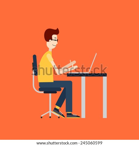 Freelancer at work. Workplace with the desktop computer. Flat design. - stock vector