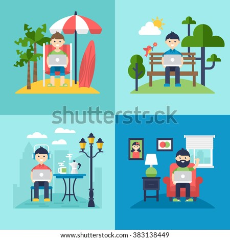 Freelancer concept. Working on the beach, in coffee shop, in the park and at home. Isolated vector illustration - stock vector