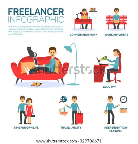 Freelancer infographic elements - stock vector