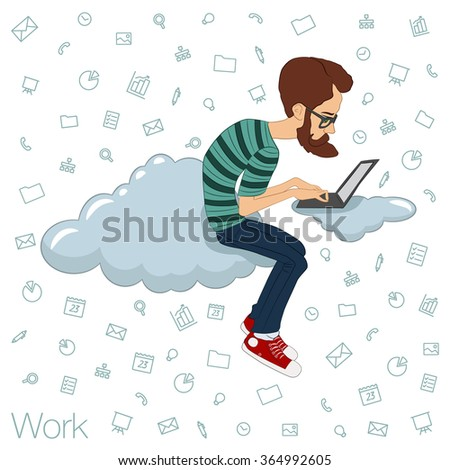 Freelancer, Manager, designer, programmer working via the Internet. Team networking in the cloud services and technologies. Remote teamwork through apps in the web network. Tools for working in  team