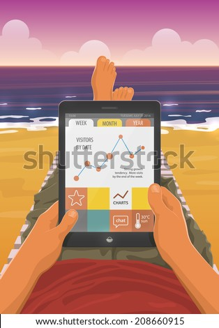 Freelancer with a tablet pc working while lying on a sandy beach in the sunset. EPS10 vector cartoon illustration. First person view. - stock vector