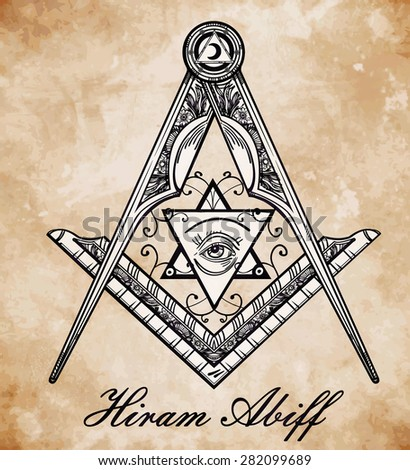 Freemasonry emblem, masonic square compass God symbol. Trendy alchemy element. Religion philosophy, spirituality, occultism, chemistry, science, magic. Design tattoo art. Isolated vector illustration. - stock vector