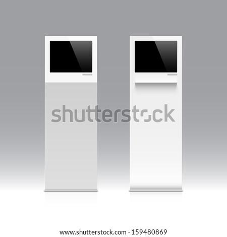 Freestanding information kiosk, terminal, stand. Vector. - stock vector