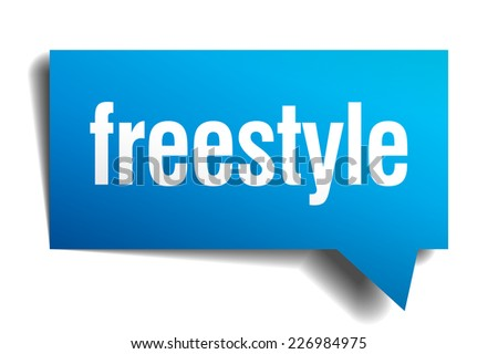 freestyle blue 3d realistic paper speech bubble - stock vector