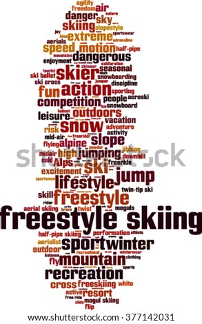 Freestyle skiing word cloud concept. Vector illustration