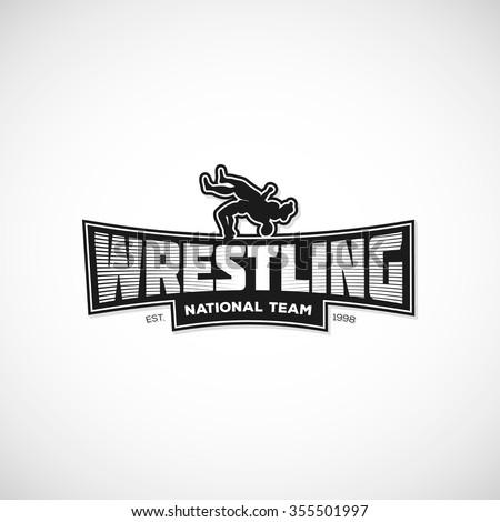 Freestyle Wrestling Logo Sign Illustration Template Stock Vector ...