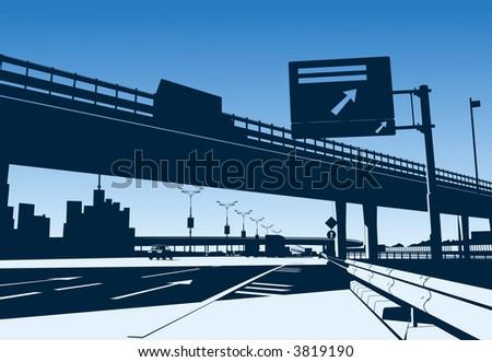 Freeway Interchange on the blue sky - stock vector