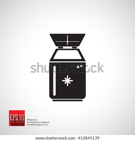Freezer for deep frozen food and long-term storage. Kitchen appliance. Household equipment. Detailed icon of kitchen appliance refrigerator. - stock vector
