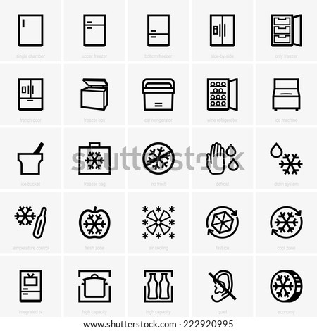 Freezer icons - stock vector