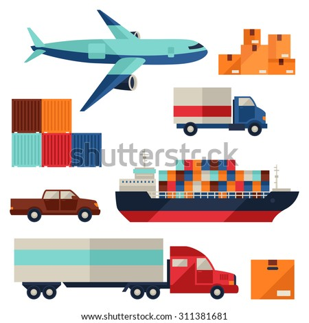 Freight cargo transport icons set in flat design style. - stock vector
