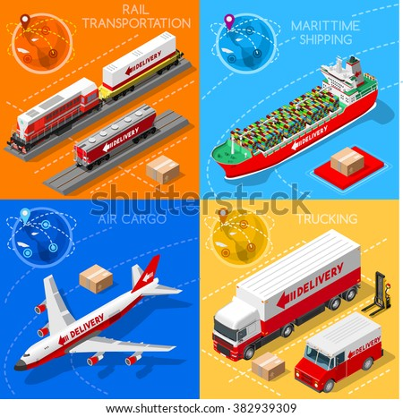 Freight Delivery Infographic. Global Trade. Logistics Transportation Vehicles 3D Isometric Vector Objects Maritime Cargo Ship Truck Van Train Air Plane Vector Collection. Fast Delivery Worldwide. - stock vector