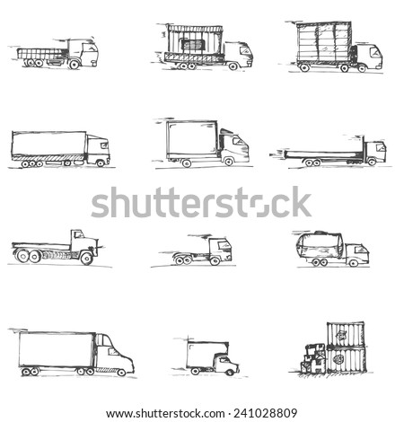Freight doodles icons isolated on a white background sketches - stock vector