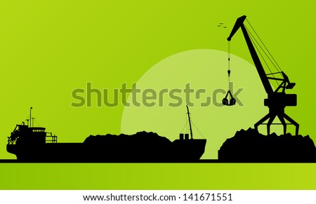 Freight ship in harbor, coal loading with crane vector background - stock vector