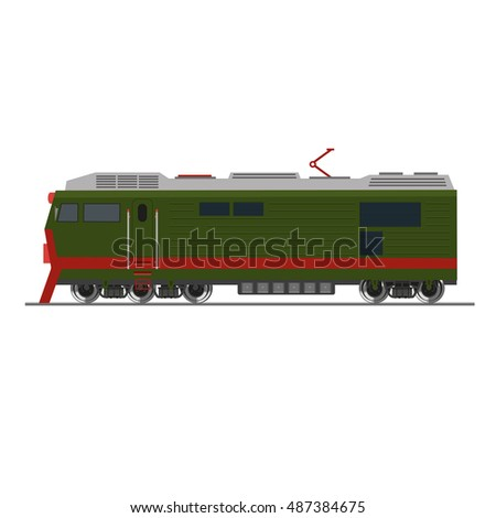 Freight train. Isolated on white. Side view