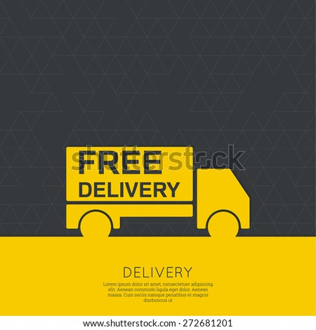 Freight transport. Concept delivery service. Truck delivers the goods. Outline. minimal. yellow, black - stock vector