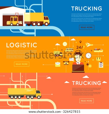 Freight transportation, operator complex service, global transportation, logistic, delivery services. 3 web banners and promotional materials flat design. - stock vector