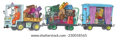 Freight trolleys full of baggage - cartoon - stock vector