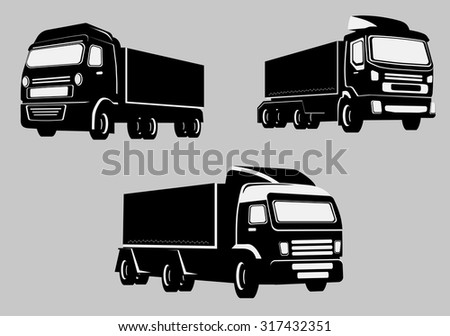 Freight Trucks vector black and white image design set for your illustration, decoration,  labels, posters, stickers and other printing needs.   - stock vector