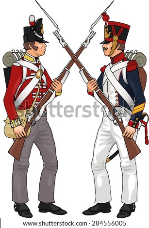French and British Soldiers from Napoleonic Wars Clashing Each Others Weapons, Illustration Isolated on White Background, EPS 10 Vector - stock vector