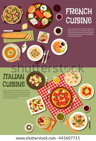 French and italian cuisine. Cheese and onion soup, italian pizza and ravioli seafood and meat pasta, mushroom risotto, baguettes, octopus, fig,  vegetable salads, coffee, wine, dessert and croissants