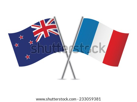 French and New Zealand flags. Vector illustration.