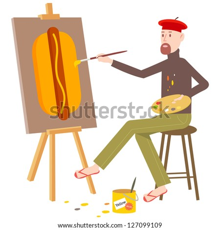 French artist painting an oil painting of Hot Dog - stock vector
