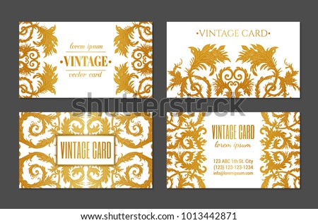 French baroque style elegant ornate visiting stock photo photo french baroque style elegant ornate visiting cards luxurious fashionable gold ornamental flyer design vintage reheart Gallery