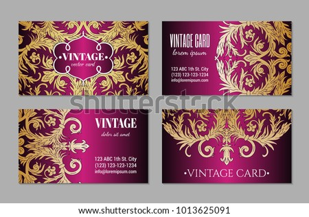 French baroque style elegant ornate visiting stock vector 1013625091 french baroque style elegant ornate visiting cards luxurious fashionable gold ornamental flyer design vintage reheart Gallery