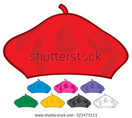french beret collection (painter hat, french hat) - stock vector