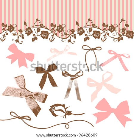 French Bows and Roses - stock vector