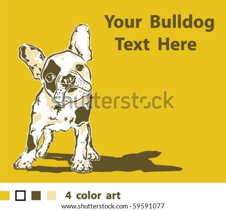 French Bulldog 4 color Art - stock vector