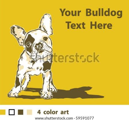 French Bulldog 4 color Art - stock vector