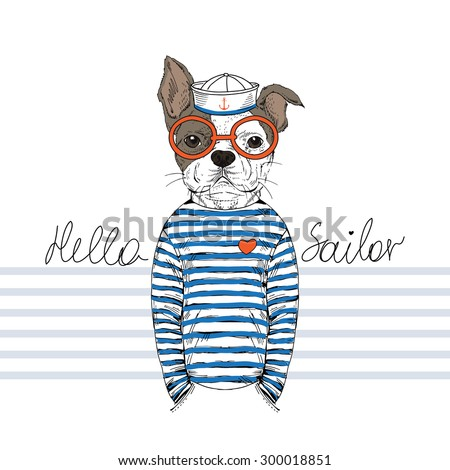 french bulldog sailor, nautical poster,furry art, hand drawn animal illustration - stock vector