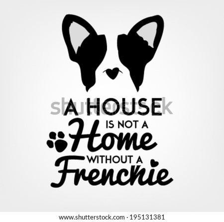French Bulldog Typographic Background in Vintage Style - stock vector