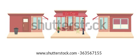 French cafe front and side-views - stock vector