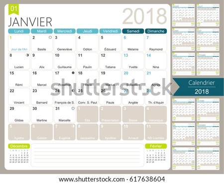 French Calendar 2018 Set 12 Months Stock Vector 617638604 ...
