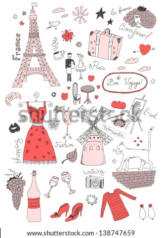 French colored set - stock vector