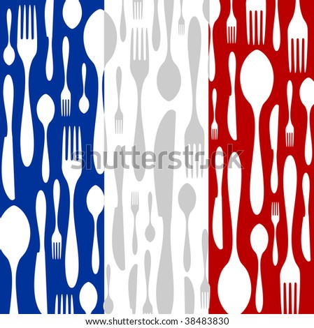 French Cuisine. Cutlery silhouettes: spoon, knife and fork pattern on blue, white and red wide striped background as an icon of the country flag.