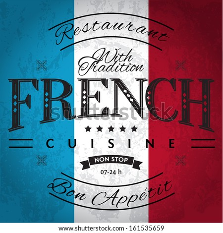 French Cuisine Label on Grunge Flag - stock vector