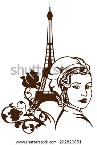 French cuisine vector emblem - beautiful female chef and eiffel tower among rose flowers