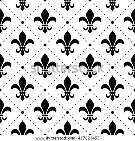 French Damask background - Fleur de lis black pattern on white - stock vector