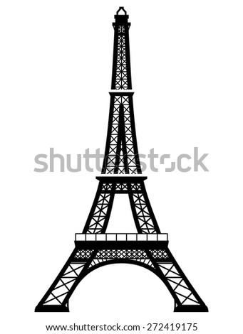 French Eiffel Tower in black-and-white color. Silhouette of Paris landmark. Qualitative vector illustration for travel, france, vacation, sightseeing, paris, tour, etc. It has only solid color
