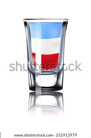 French flag. France. Shot glass. cocktail. Isolated On White Background. Vector Illustration. - stock vector