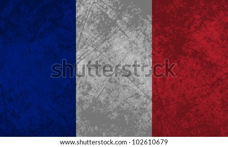 French flag with a grunge texture effect. - stock vector